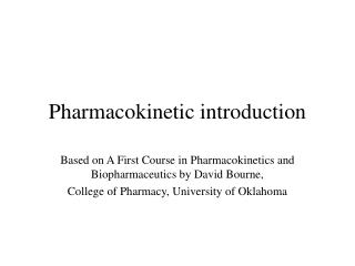 Pharmacokinetic introduction