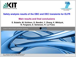 Safety analysis results of the DBC and DEC transients for ELFR Main results and final conclusions