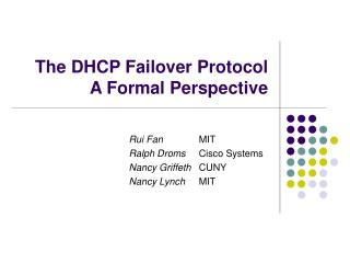 The DHCP Failover Protocol A Formal Perspective