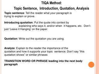 Thesis For Compare Contrast Essay Tiqa Method Topic Sentence Introduction Quotation Analysis  Learn English Essay also High School Admission Essay Sample Tiqa Format  Omfarmcpgroupco Custom Essay Paper