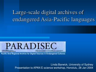 Pacific And Regional Archive for Digital Sources in Endangered Cultures