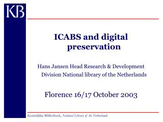 ICABS and digital preservation