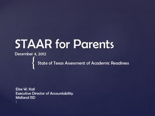 STAAR for Parents December 4, 2012