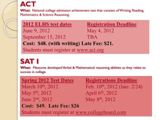 2012 ELHS test dates Registration Deadline June 9, 2012			May 4, 2012 September 15, 2012		TBA