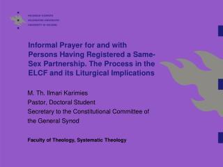M. Th. Ilmari Karimies Pastor, Doctoral Student