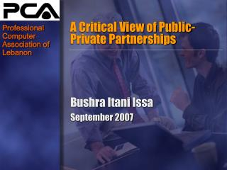 A Critical View of Public-Private Partnerships