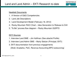 Land and Land Admin – EKTi Research to-date