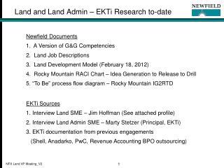 Land and Land Admin – EKTi Research to-date
