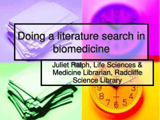 Doing a literature search in biomedicine
