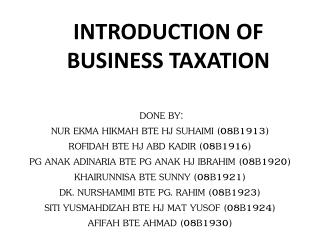INTRODUCTION OF BUSINESS TAXATION