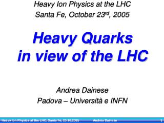 Heavy Quarks  in view of the LHC