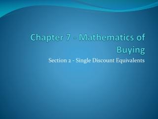 Ch 6 - Mathematics of Buying