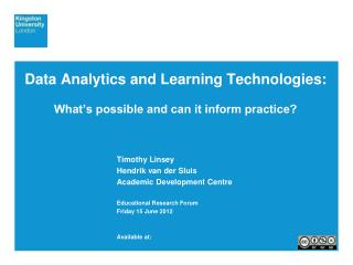 Data Analytics and Learning Technologies: What's possible and can it inform practice?