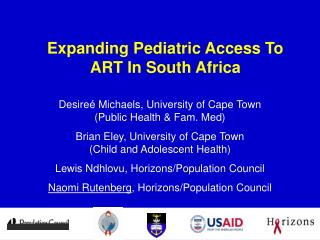 Expanding Pediatric Access To ART In South Africa