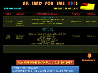 ALL   LAND   FOR   SALE    2 0 1 3