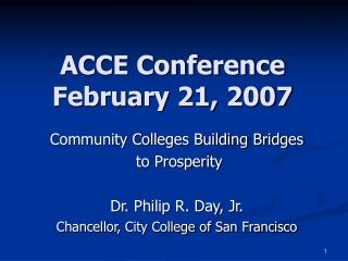 ACCE Conference February 21, 2007