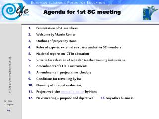 Agenda for 1st SC meeting