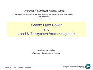 Corine Land Cover  and  Land & Ecosystem Accounting tools
