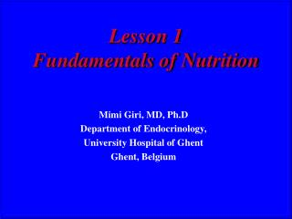 Lesson 1 Fundamentals of Nutrition