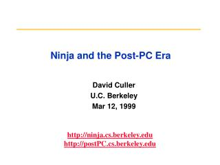 Ninja and the Post-PC Era