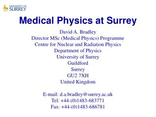 Medical Physics at Surrey