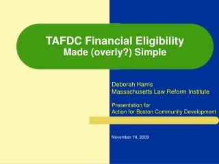 TAFDC Financial Eligibility Made (overly?) Simple