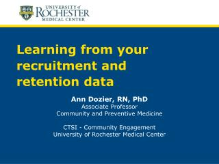 Learning from your recruitment and  retention data