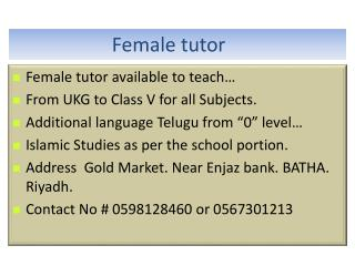 Female  tutor