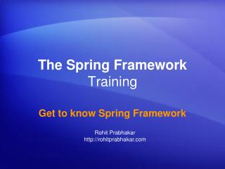 The Spring Framework  Training