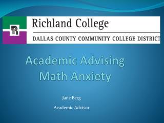 Academic Advising Math Anxiety
