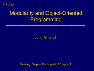 Modularity and Object-Oriented  Programming