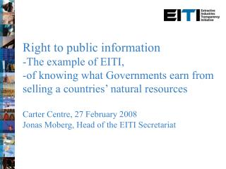 Right to public information The example of EITI,
