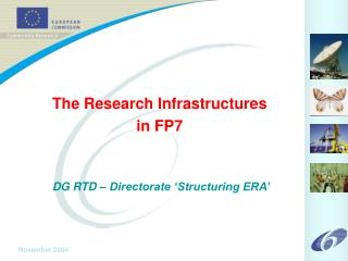 The Research Infrastructures in FP7 DG RTD – Directorate 'Structuring ERA'