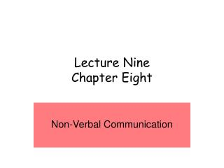 Lecture Nine Chapter Eight