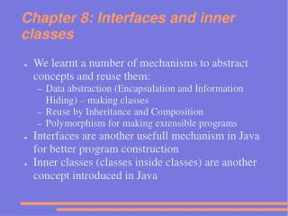 Chapter 8: Interfaces and inner classes