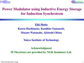 Power Modulator using Inductive Energy Storage  for Induction Synchrotron