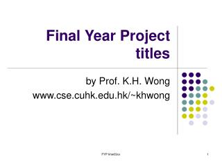 Final Year Project titles