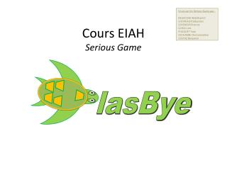 Cours EIAH Serious Game