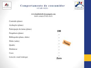 Comportamento do consumidor  (CAD 023)
