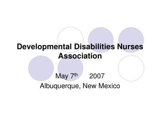 Developmental Disabilities Nurses Association
