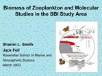 Biomass of Zooplankton and Molecular Studies in the SBI Study Area