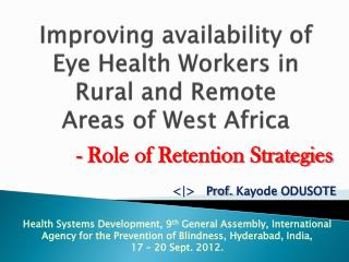 Improving availability of Eye Health Workers in Rural and Remote  Areas of West Africa