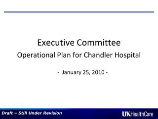 Executive Committee Operational Plan for Chandler Hospital  -  January 25, 2010 -
