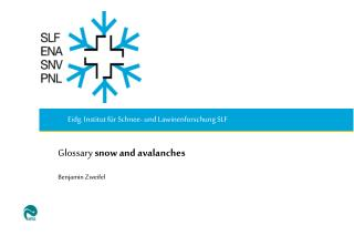 Glossary  snow and avalanches Benjamin Zweifel