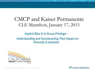 CMCP and Kaiser Permanente CLE Marathon, January 17, 2013