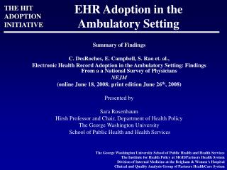 EHR Adoption in the Ambulatory Setting