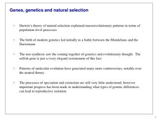 Genes, genetics and natural selection
