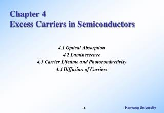 Chapter 4 Excess Carriers in Semiconductors