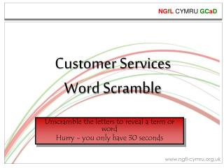 Customer Services  Word  Scramble