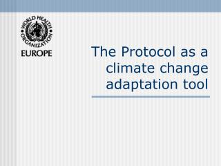 The Protocol as a climate change adaptation tool